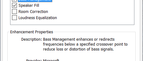 Windows 10 Bass Management And Speaker Fill
