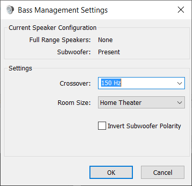 Windows 10 Bass Management Crossover Frequency