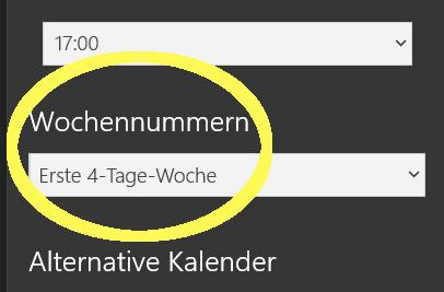 Windows 10 Kalenderwochen bzw. Wochennummern korrekt einstellen für Deutschland