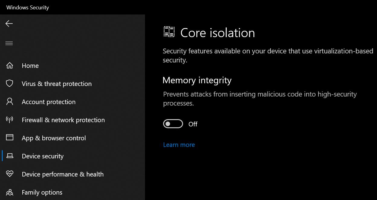 Windows 10 Core isolation Memory integrity