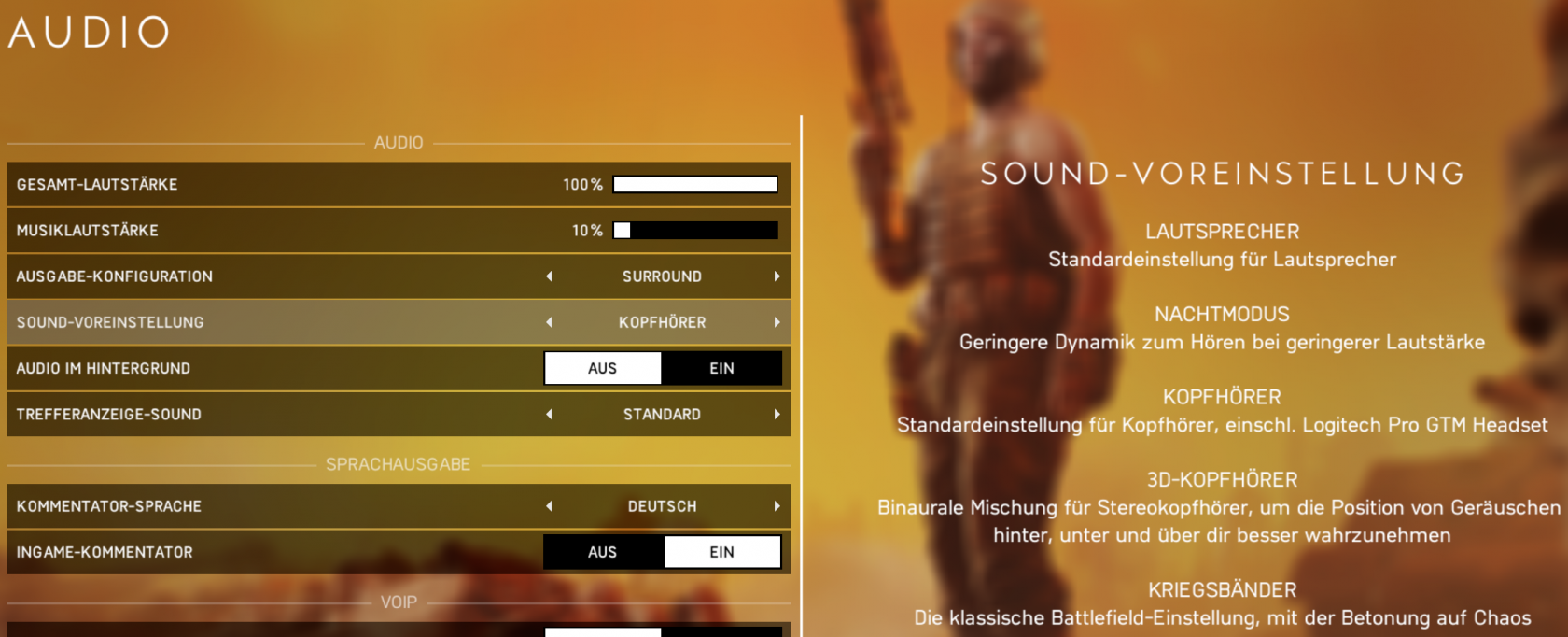 battlefield 5 audio sound voreinstellung lautsprecher nachtmodus kopfhoerer 3d kopfhoerer kriegsbaender